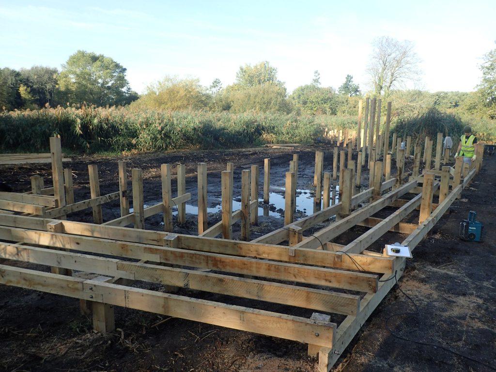 02 work in progress morden hall park boardwalk and viewing platform construction national trust property