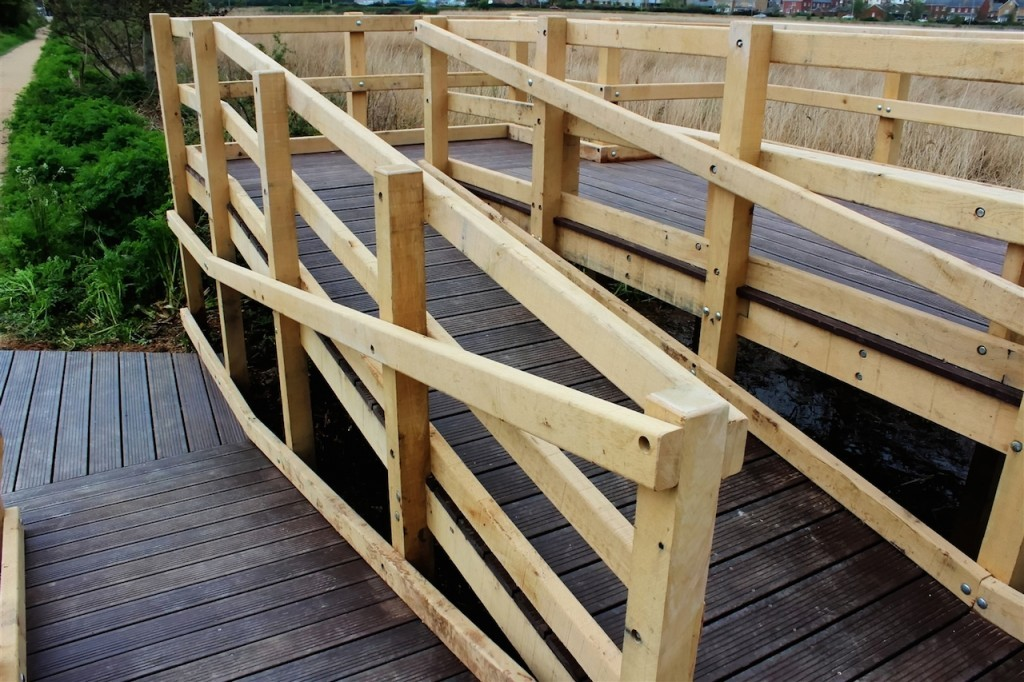 Access ramp wooden viewing platform for wetland area with disabled access by the wild deck company