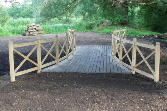 Timber Bridge with Wooden Fencing
