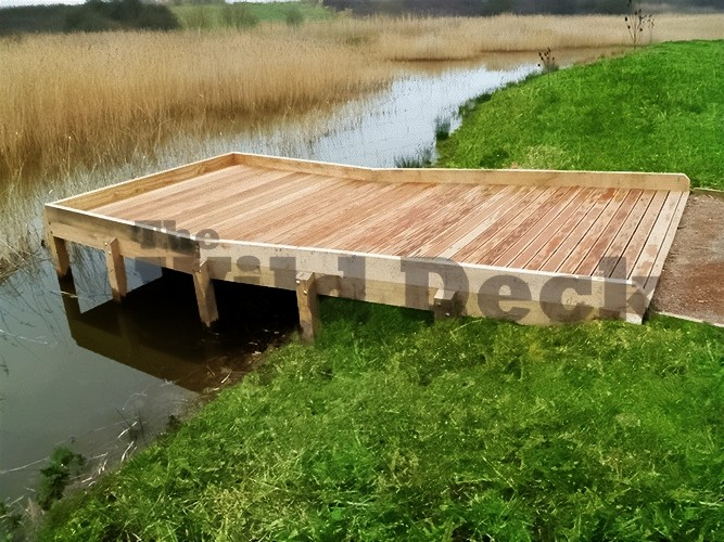 Square pond dipping platform by the wild deck company