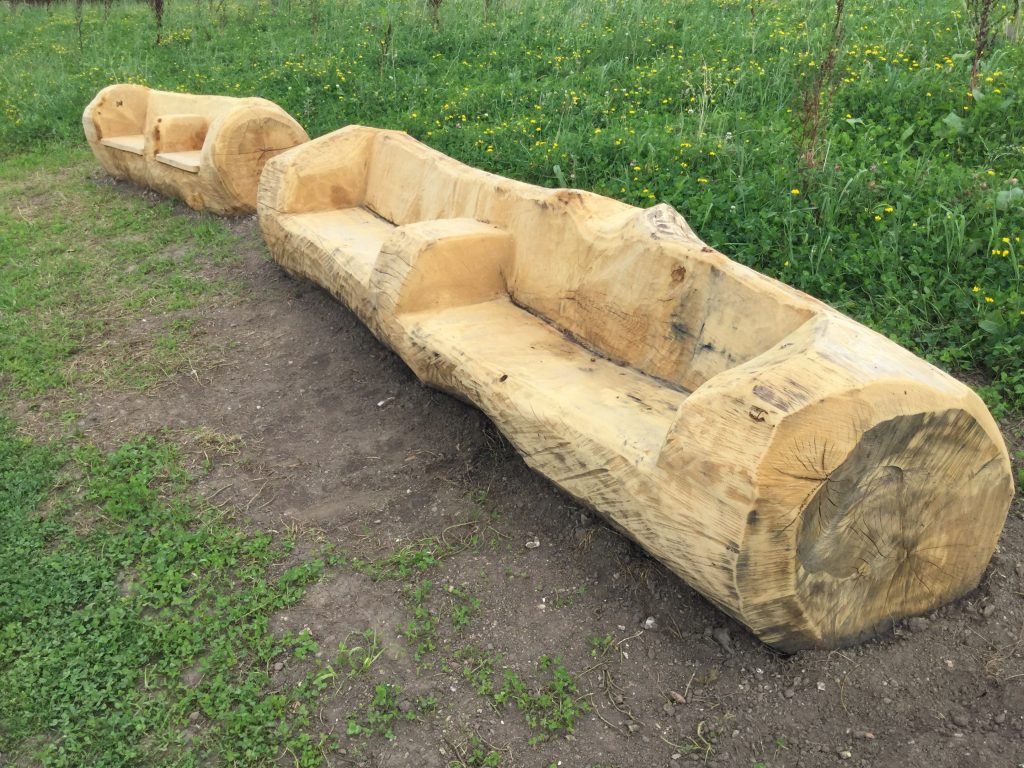Carved log seating durrants village retirement home lakehouse
