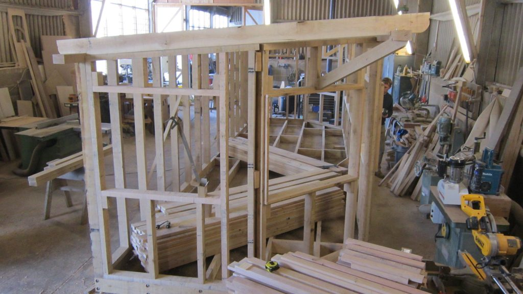 Construction at workshop in norfolk hide bay bird hide with sedum roof at abberton reservoir for essex wildlife trust