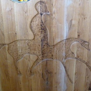 Horse Etching in Wood Panel