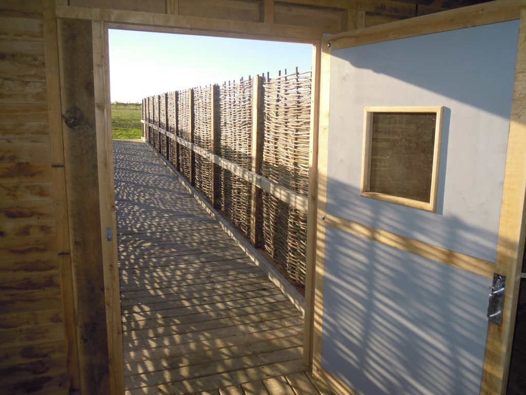 Exit island bird hide at abberton reservoir for essex wildlife trust
