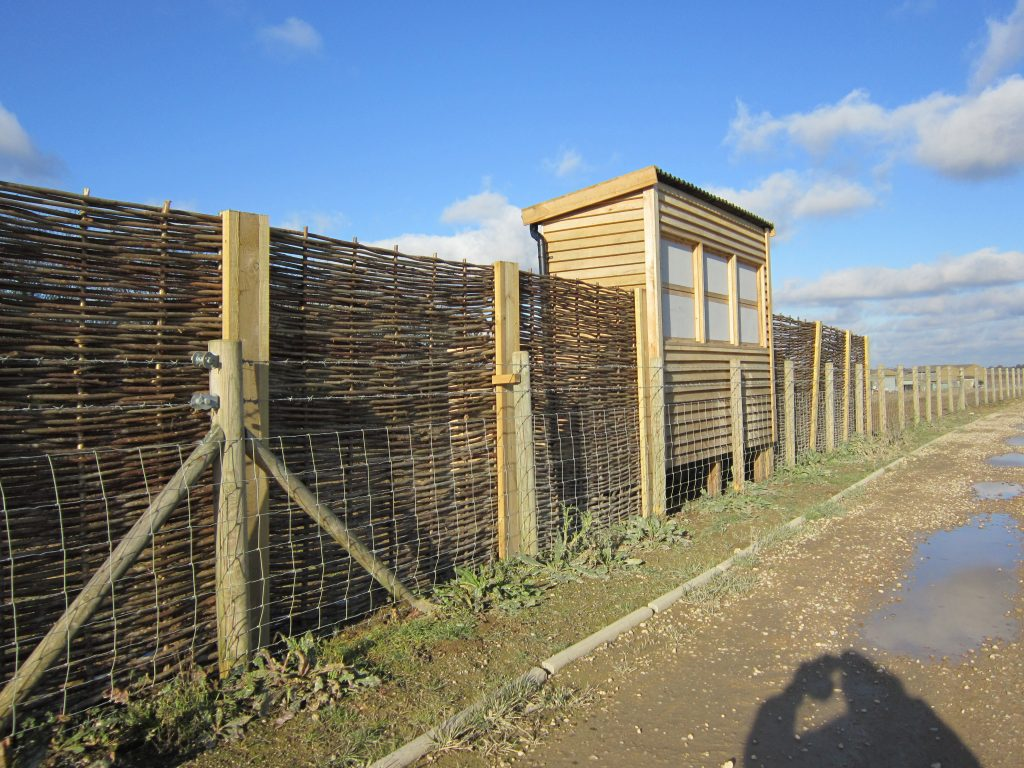 Front and hazel fencing abberton reservoir memorial bird hide blind essex wildlife trust