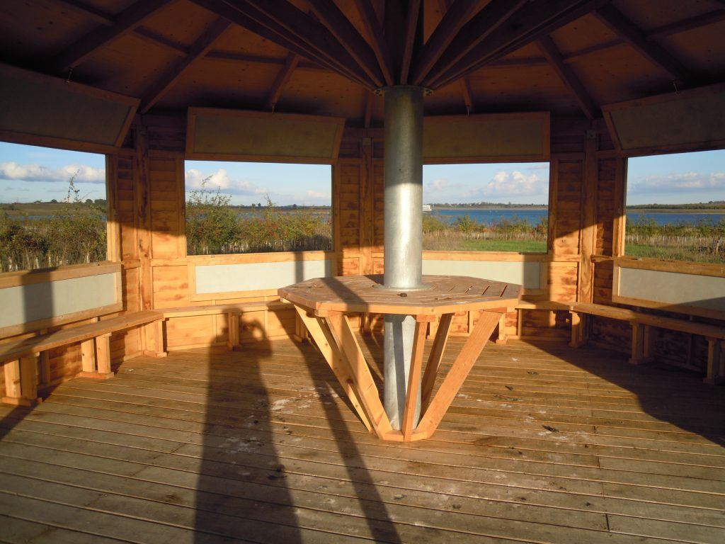 Interior octagon bird hide childrens visitor information centre abberton reservoir essex wildlife trust