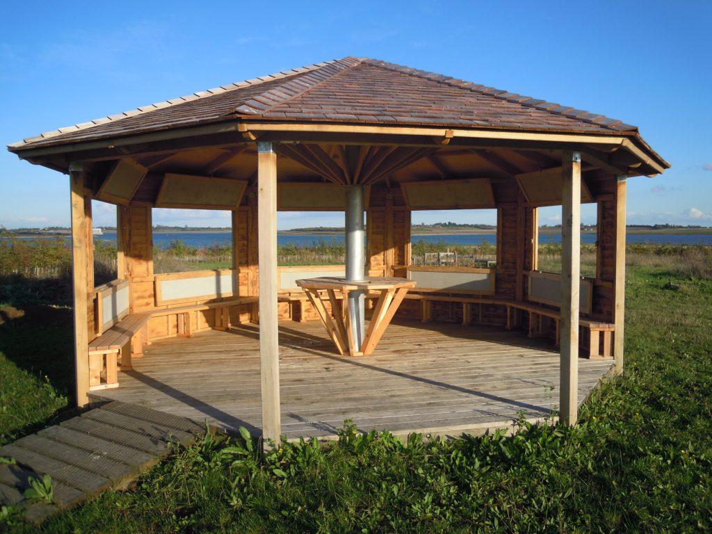 Interior windows open octagon bird hide childrens visitor information centre abberton reservoir essex wildlife trust