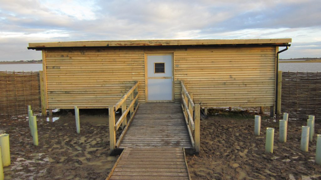 Main entrance gwens hide bird hide for essex wildlife trust at abberton reservoir