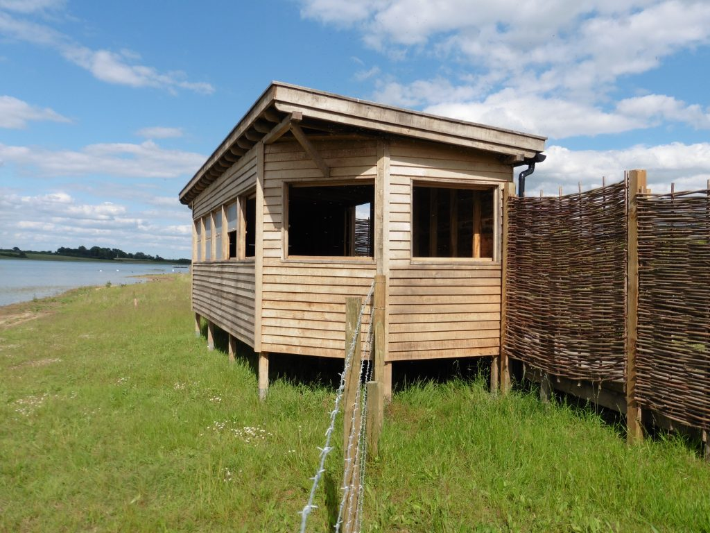 Right side hide bay bird hide with sedum roof at abberton reservoir for essex wildlife trust