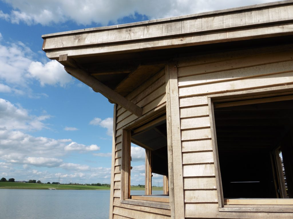 Roof detail hide bay bird hide with sedum roof at abberton reservoir for essex wildlife trust