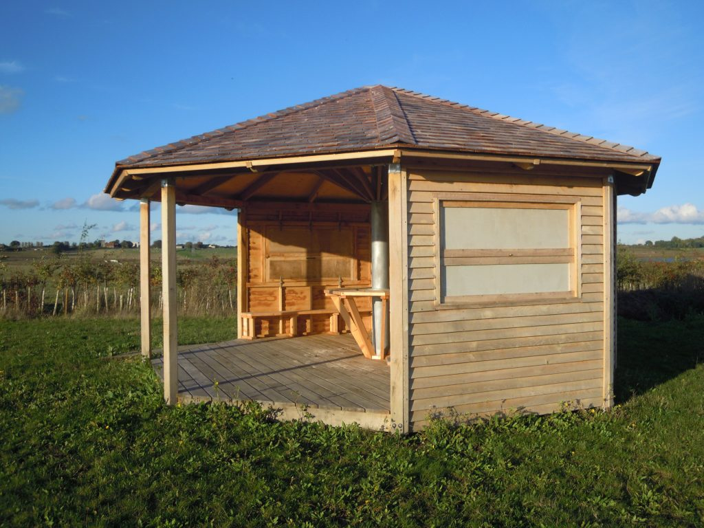 Side view octagon bird hide childrens visitor information centre abberton reservoir essex wildlife trust