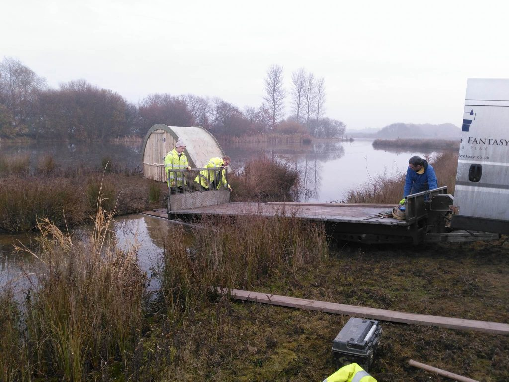 Taking the trailer out sand martin bank installation at abberton reservoir for essex wildlife trust