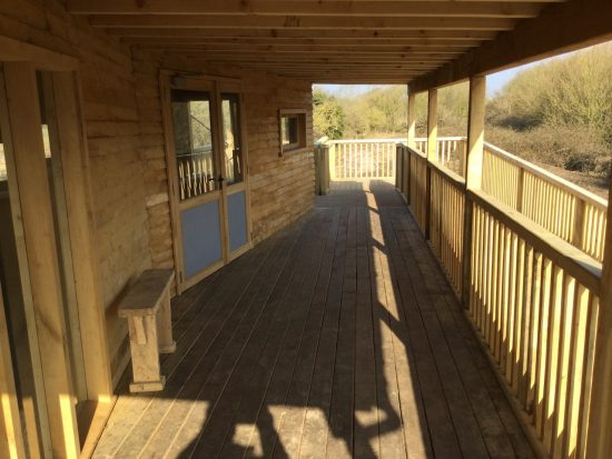 covered area at bird hide at rspb pagham harbour