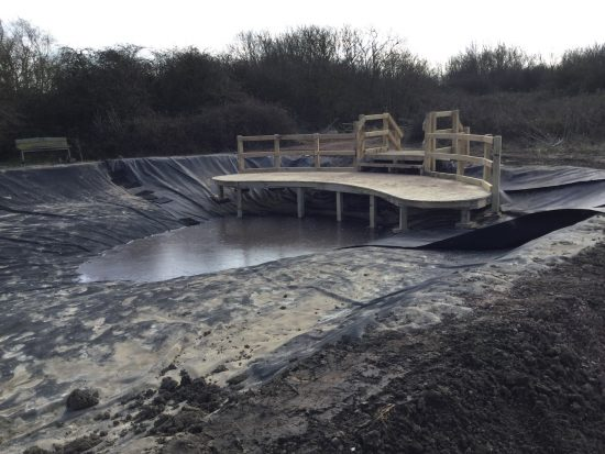 curved pond dipping platform at rspb pagham harbour