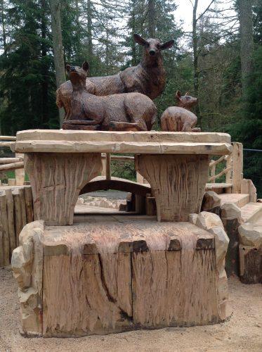 deer family carving gortin glen