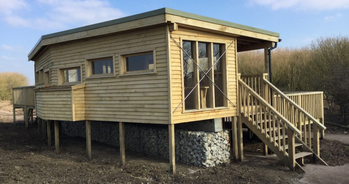 front of bird hide at rspb pagham harbour