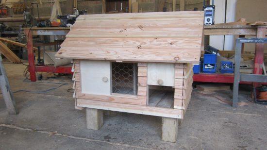 front view of rabbit hutch pergola work in progress