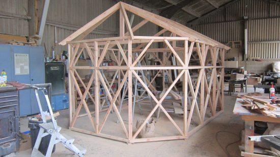 main frame of rabbit hutch pergola work in progress