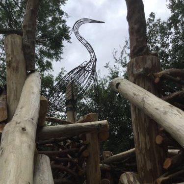 metal heron sculpture