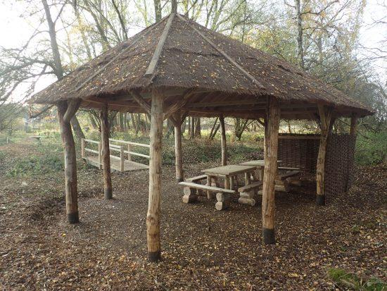 rear of picnic shelter