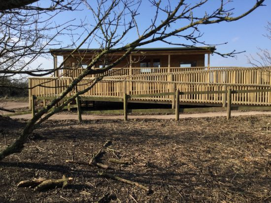 rear view of bird hide at rspb pagham harbour