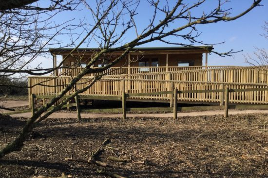 rear view of bird hide at rspb pagham harbour cropped