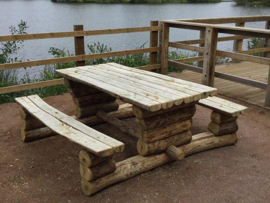 split log rustic picnic bench 1200