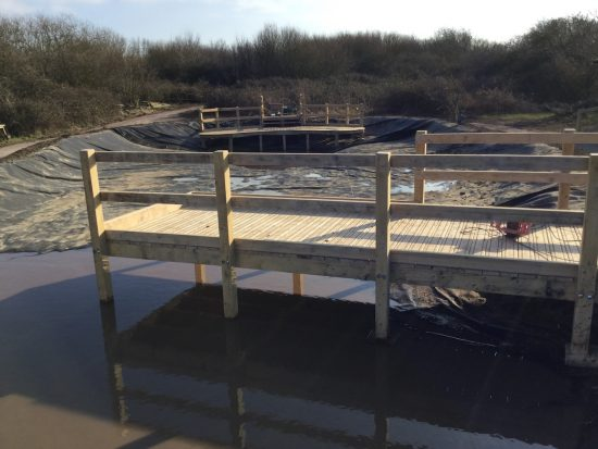 straight pond dipping platform at rspb pagham harbour