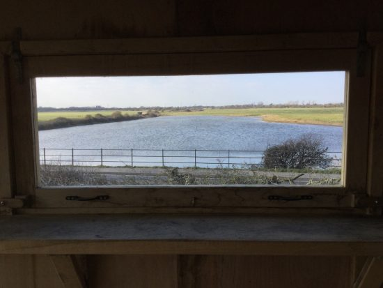 view from bird hide at rspb pagham harbour