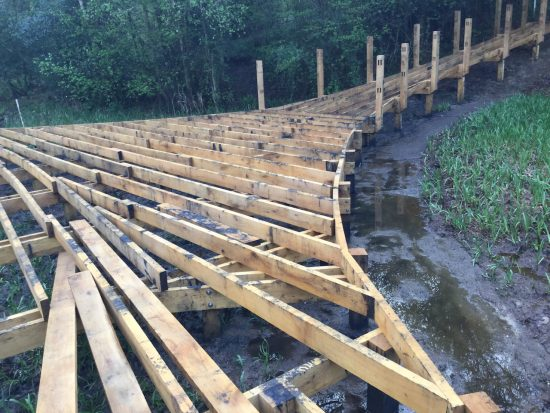 viewing area supports kew wakehurst oak boardwalk wip
