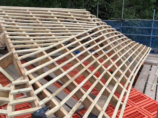 wooden roof pergola work in progress 1